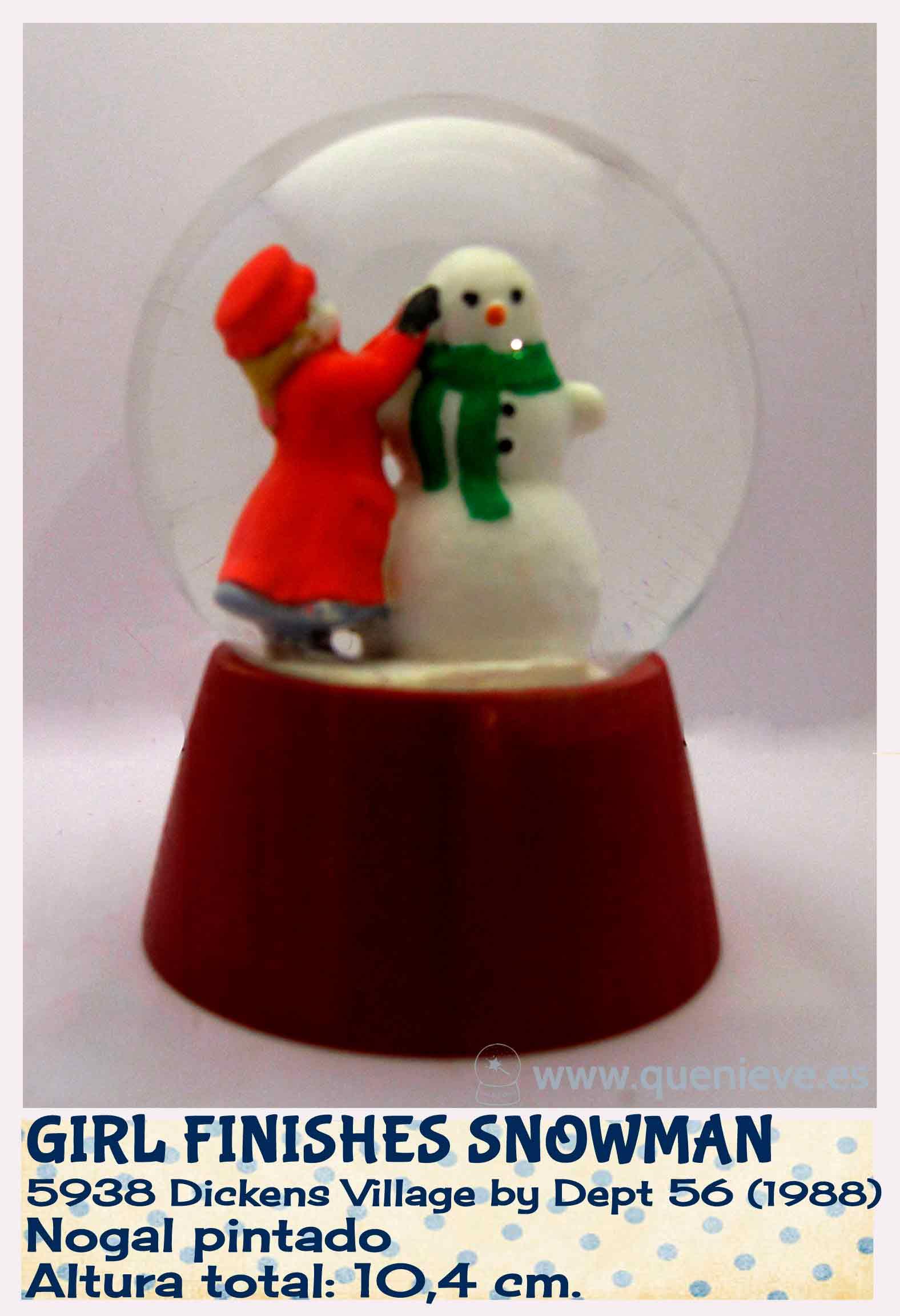 Bola de nieve personalizada con figura Dept 56. Creada por QueNieve