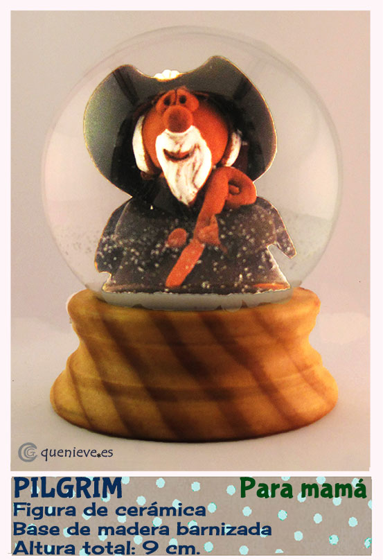 Bola de nieve personalizada con figura de peregrino. Creada por QueNieve