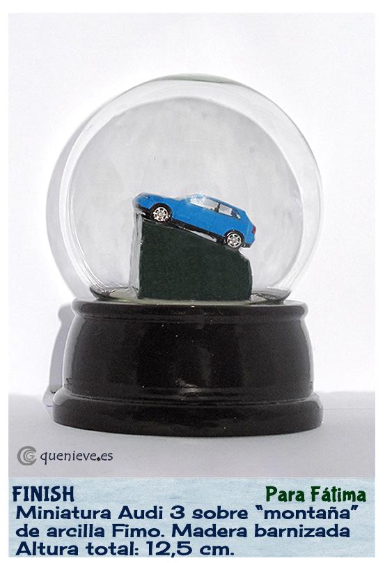 Bola de nieve personalizada con miniatura Audi 3. Creada por Quenieve